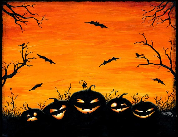 Items Similar To Halloween Art Quot Watchers In The Woods