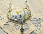 Broken China Jewelry Pendant Necklace Blue Rose Sterling Silver Chain Included