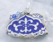 Broken China Jewelry Pendant Necklace Medium Blue Willow  Sterling Silver Chain Included