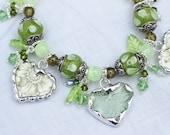 Broken China  Bracelet, China Heart Charm, Sage Transferware, Green Depression Glass, Lampwork Beads, Sterling Silver Clasp