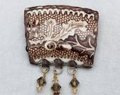 Broken China Jewelry Copper Brown Oak Leaves Brooch/Pin