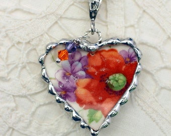 Necklace, Broken China Jewelry, Broken China Necklace, Heart Pendant, Orange and Purple Floral, Sterling Silver, Soldered Jewelry