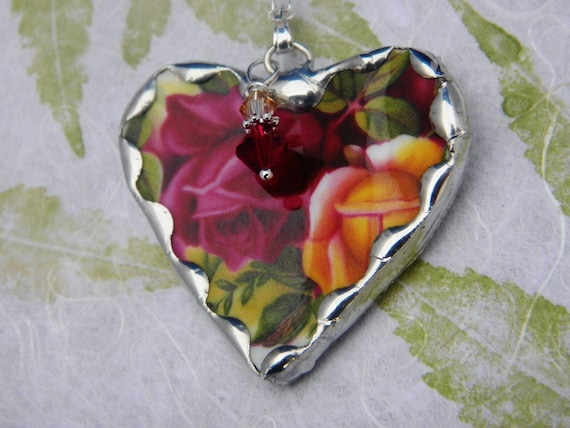 Broken China Jewelry Heart Pendant Necklace Old Country Rose Sterling Silver Chain Included