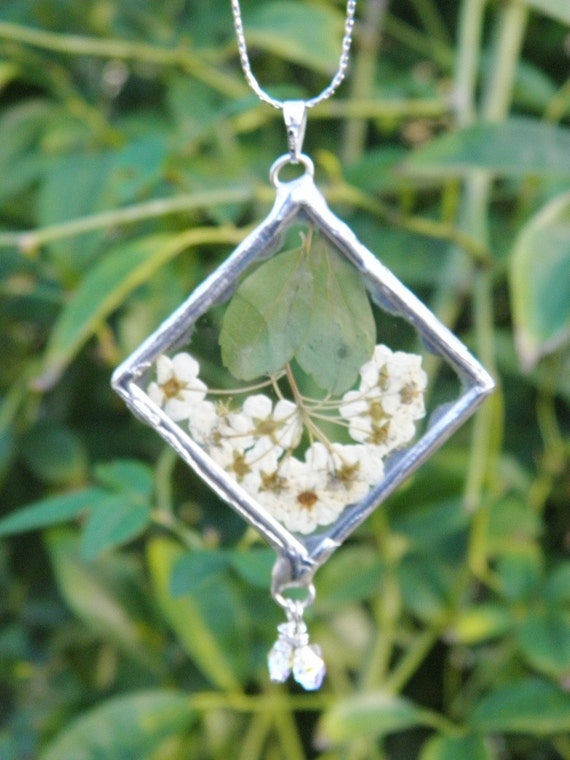 Pressed Flower Jewelry Dried Little White Flowers Necklace