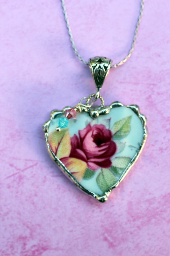 Broken China Jewelry, Heart Pendant Necklace, Allyn Nelson, Chintz China, Aqua and Pink China, without Chain