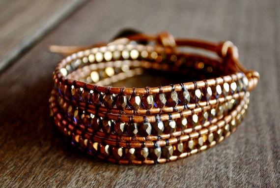 Gold Orange Indian Sun Hint of Purple Leather Beaded Wrap Bracelet Chan Luu Style