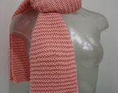 Glazed, gentle Apricot :  A  Fall/ Winter, Classic  Hand Knitted Scarf Design.