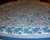 """Beautiful Vintage Blue and White 82"""" Round Tablecloth"""