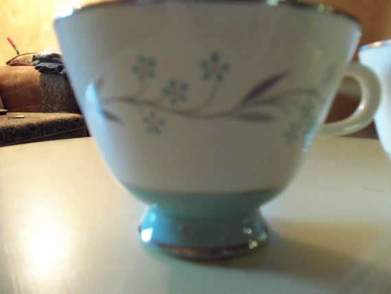 1950s  White and Turquoise Teacups