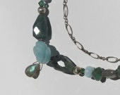 COLUMBIAN EMERALD Nugget - Floral Jewelry Set - w/LABRADORITE & Mixed Gemstones.