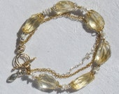 Chunky CITRINE NUGGET & Keshi Pearl - Bracelet and Earrings Set.  2-Tone Gold / Silver.