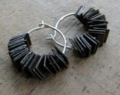 dark brass SQUARE sequins sterling HOOP earrings