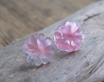 Pink DAISY vintage pressed glass sterling post earrings