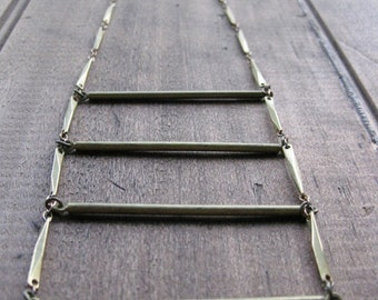 long brass LADDER chain necklace