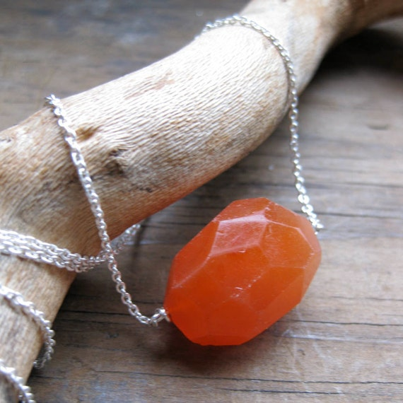 orange CARNELIAN faceted chunk sterling necklace
