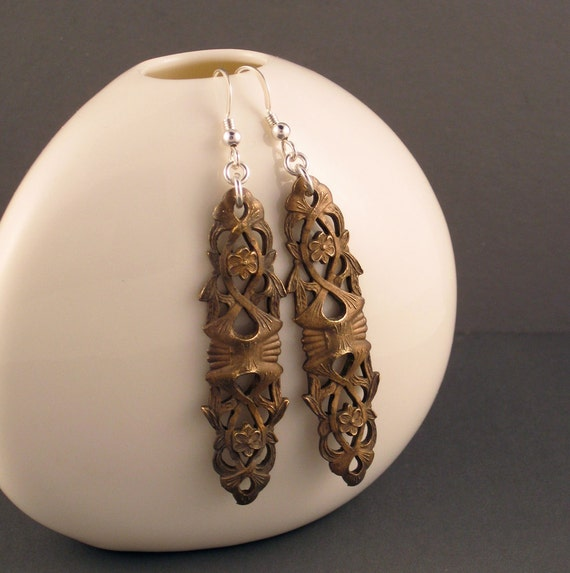 Vintage Brass Filigree earrings