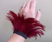 Blood Red Feather Cuffs