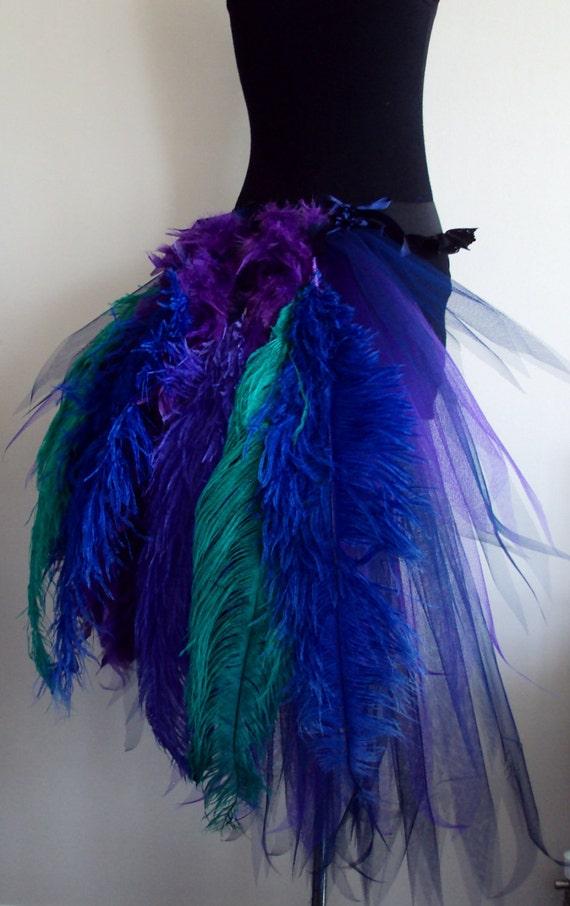 French Navy Blue Purple Peacock  Burlesque Tutu skirt size 4 -10 U.S. 6 -12 U.K.