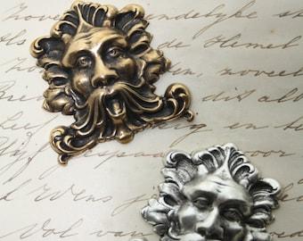 Greenman Ornament - Man Head Fantasy Wizard Brass or Silver