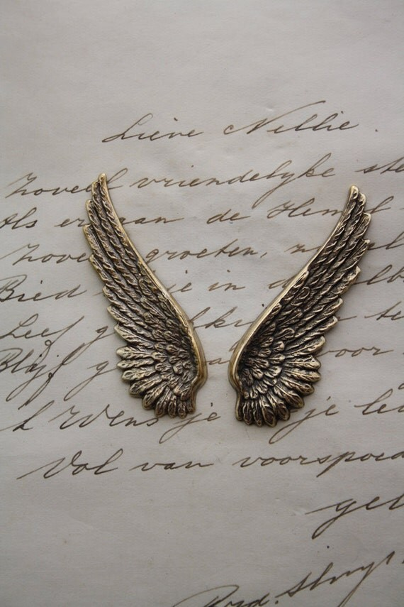 Pair of wings - steampunk gothic metal stamping -