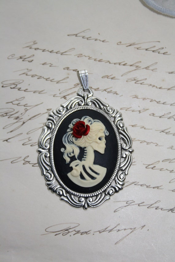 Skeleton cameo pendant - gothic victorian lady - with rose  (CUSTOMABLE)