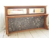Victorian Black Marble and Pine Shelved Mirror Vanity Upstand for Dresser or Chest of Drawers