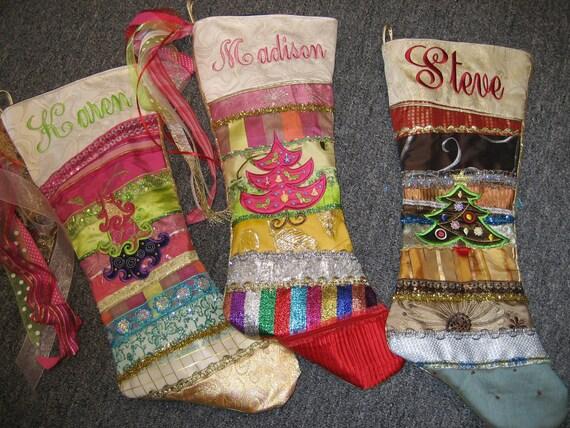 Custom christmas stocking embroidery handmade for Custom made christmas stockings