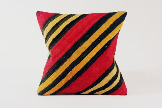 Vintage Kilim Pillow Cover / Red, Yellow, Black Stripe