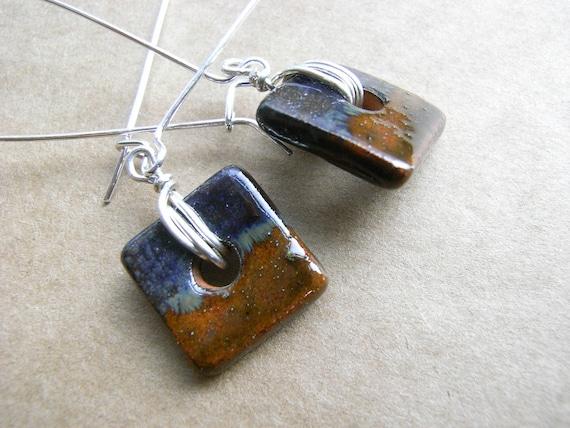 Handmade Ceramic Earrings Square Dangles Sterling Silver
