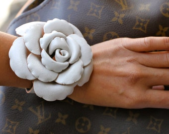Huge Leather Rose Flower Bracelet in bold color - white