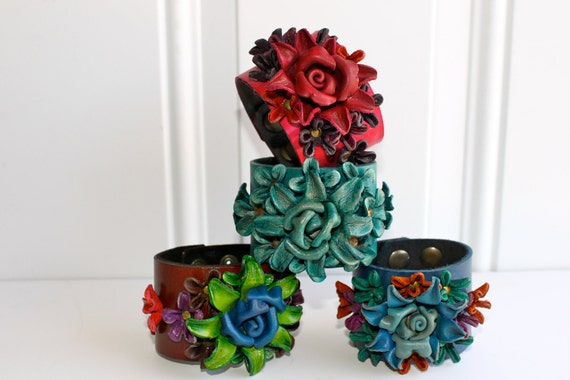 my kind of Vintage leather bracelet / cuff series - in assorted colors combo