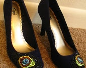 """SALE :D 30% OFF // Peacock """"eye"""" feather pattern with Swarvoski crystals, on deep blue, faux suede pumps. SZ 6.5"""
