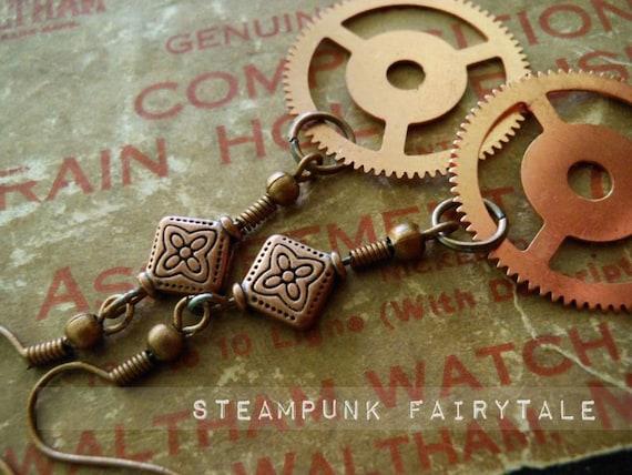 Copper Dangle Earrings Feminine Upcycled Steampunk Gears