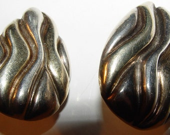 SALE Large Sterling Silver and Gold Wash Clip Earrings Signed Orig 49