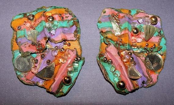 Beautiful Rainbow Colors Vintage Paper Mache Clip Earrings