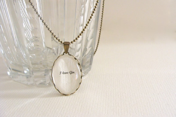 I love Gin necklace for gin lovers, british jewelry, london, secret message necklace