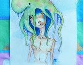 SALE octopus lady: signed original watercolor art, 10.8x8.5