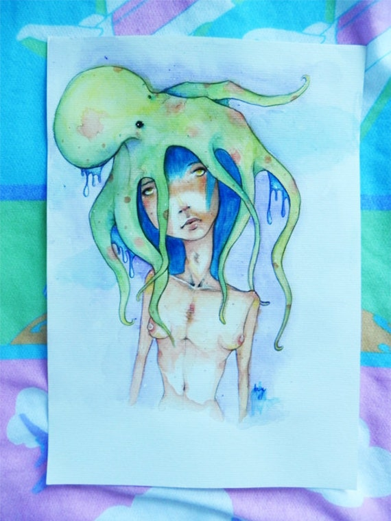 SALE octopus lady: signed original watercolor art, 10.8x8.5