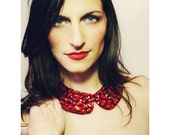 Bella - Peter Pan Collar Bib Necklace Ruby Rhinestone Accents- OOAK