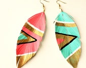 SALE - Neon Aztec - Faux Leather Feather Earrings - Electric Pink / or Blue -  FREE SHIP
