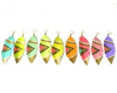 Earrings Drop / Dangle - SMALL Neon Aztec - 3.5 inch Faux Leather Feather Earrings - Assorted Colors Available