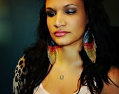 Girl On Fire - Glitter and Faux Leather BIG Feather Earrings