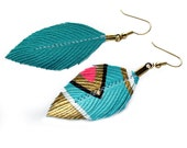 SALE - Neon Aztec  - Turquoise - 3 inch - Faux Leather Feather Earrings