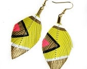 Neon Aztec - Butter Yellow - 3 inch - Faux Leather Feather Earrings