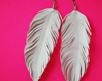 Dove - Faux Leather Feather Earrings, White Feather, White Earrings, Large Earrings, Feather Earrings