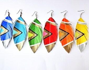 Neon Aztec Brights Hand painted Faux Leather Feather Earrings, Boho, Bohemian Earrings, Boho Jewelry, Festival Earrings, Boho Bride, 80s,