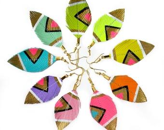 Small Feather Earrings, Neon Earrings, Feather Earrings, Faux Leather Feather Earrings, Hand Painted Jewelry, Festival earrings - Neon Aztec