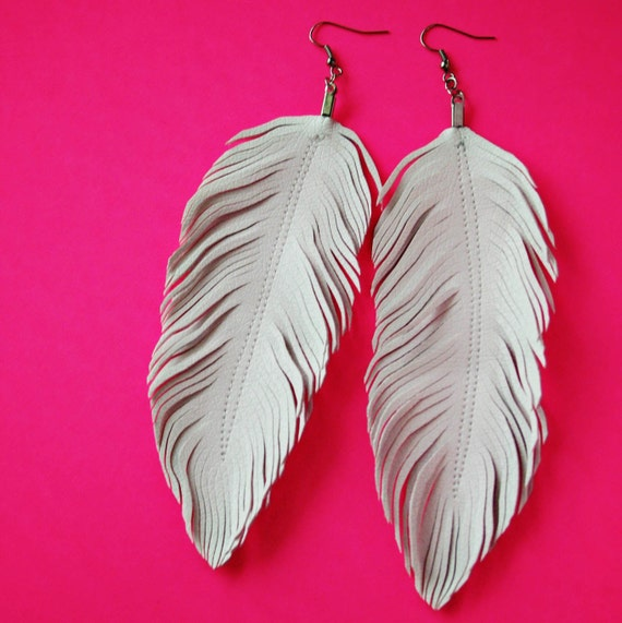 Dove Faux Leather Feather Earrings White Feather White