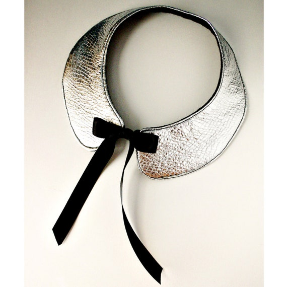 NEW - Platinum - Party Ready - The Alexa - Faux Leather Silver Peter Pan Bib Collar Necklace - FREE Shipping