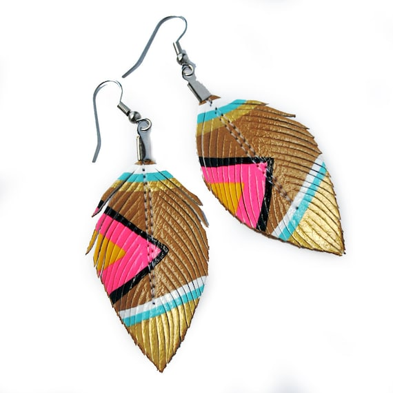 Neon Aztec - Nude Neons - 3 inch - Faux Leather Feather Earrings - FREE SHIP